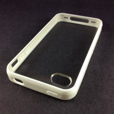 CAPA RIGIDA BRANCO E TRANSPARENTE IPHONE 4/4S