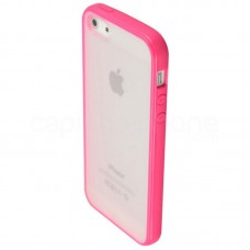 CAPA RIGIDA ROSA E TRANSPARENTE IPHONE 5/5S