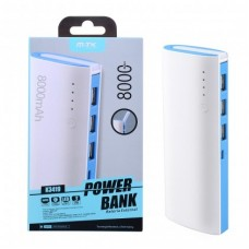 POWER BANK 8000Mah K3419 COM LUZ LED E 3 PORTAS USB AZUL