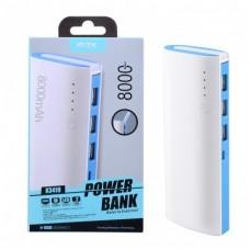 POWER BANK 8000Mah K3419 COM LUZ LED E 3 PORTAS USB AZUL
