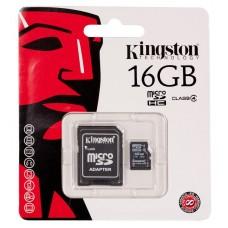 CARTÃO MEMORIA MICROSD 16GB COM ADAPTOR SD CLASS 4 KINGSTON