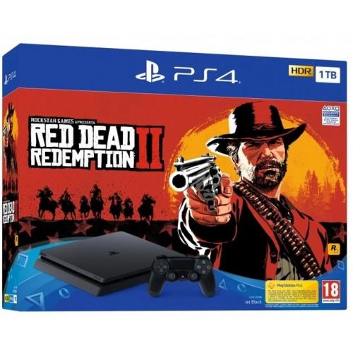 CONSOLA PS4 SLIM 1TB PRETA+RED DEAD REDEMPTION II