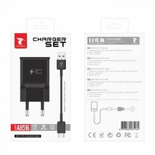 CHARGER SET FOR TYPE-C USB CABLE 1000MM A8516 PRETO LT PLUS