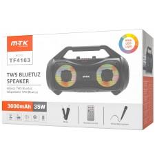 TF4163 ALTAVOZ BLUETOOTH 5,0 VANITY CON LUZ RGB, 35W 3000MAH FM/USB/TF CARD/AUDIO/KARAOKE,CON ASA DE TRANSPORTE, LLEVA MANDO A DISTANCIA,MICROFONO