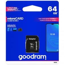 MICRO SDHC 64GB CLASS10 UHS I + ADAPTER GOODRAM – NEW