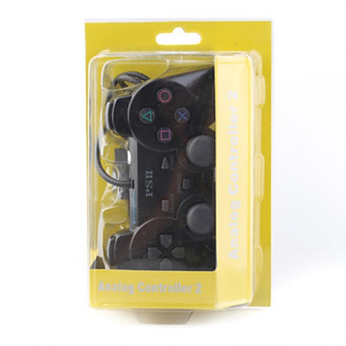 PS2 COMANDO DUALSHOCK 2 COM FIOS PRETO COMPATIVEL - (NAO OFICIAL)