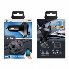 LT PLUS A8593 BTS FM CAR TRANSMITTER WITH PDA 3.1A FAST CHARGER, BLACK