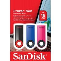 PEN DRIVE 16 GB SANDISK CRUZER DIAL USB 2.0-PACK 3 (BLUE/PINK/BLACK)