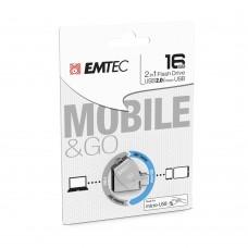 PEN DRIVE EMTEC DUAL T250 USB2.0 + MICRO USB 16GB