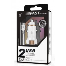 USB CAR CHARGER COM CABO MICRO USB FAST CHARGING A4710 BRANCO ONEPLUS