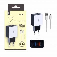 CARREGADOR 2X USB COM CABO MICRO USB 5V 2.1A  CS101 ONEPLUS