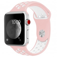 BRACELETE DESPORTIVA PARA APPLE WATCH 42/44 MM  ROSA/BRANCO COMPATÍVEL