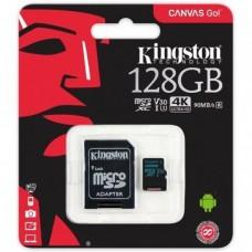 CARTÃO MEMORIA MICROSD 128GB COM ADAPTOR SD CLASS 10 CANVAS GO KINGSTON