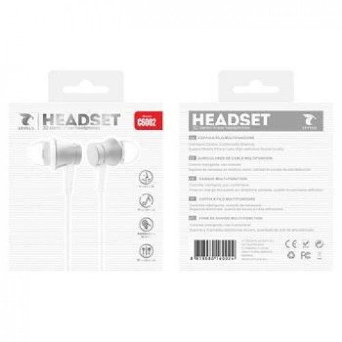 HEADSET 3D STEREO IN-EAR HEADPHONES C6002 BRANCO LT PLUS