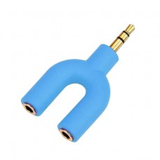 SPLITTER ADAPTADOR JACK 3.5MM PARA AUDIO E MICROFONE IS-3305 AZUL IPSDI