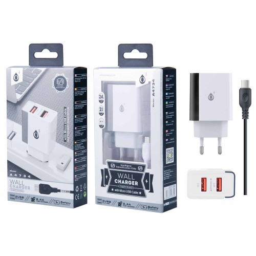 WALLCHARGER  WITH MICRO USB CABLE PRETO A4734 ONEPLUS