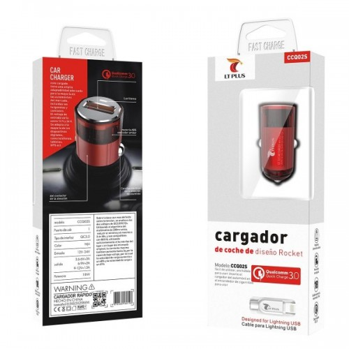 CARREGADOR DE ISQUEIRO 1X USB 3A + CABO LIGHTNING IPHONE CCQ02S LT PLUS