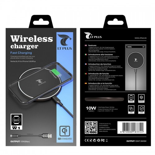 WIRELESS CHARGER FAST CHARGING FOR SMARTPHONE MODEL W1 10W LT PLUS