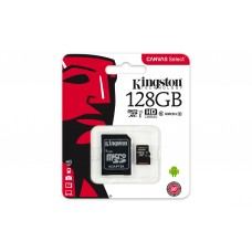 128GB MICROSDXC CANVAS SELECT 80R CL10 UHS-I CARD + SD ADAPTER KINGSTON