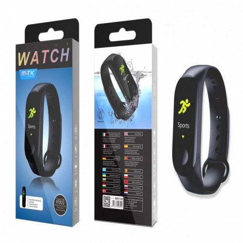 WATERPROOF SMART WATCH ACTIVITY BRACELET, RT822 BLACK MTK