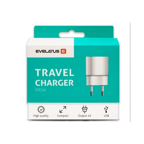 ADAPTADOR EVELATUS TRAVEL CHARGER ETC02 PRETO
