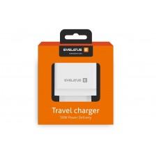 ADAPTADOR EVELATUS CARREGADOR DE VIAGEM ETC04 USB 2.4A + TYPE-C 3A 30W ENTREGA DE ENERGIA PRETO