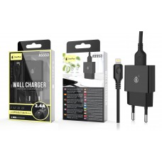 WALL CHARGER WITH CABLE IP5/6/7/8/X , 2.4A 5V A5553 ONEPLUS