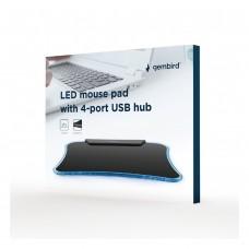 TAPETE PARA RATO COM LED E HUB 4 PORTAS USB GEMBIRD