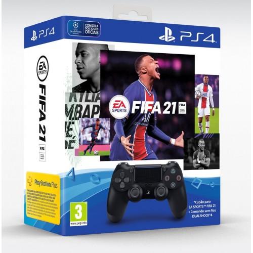 COMANDO SONY  PS4 DUALSHOCK 4 V2 PRETO + FIFA 21 DIGITAL