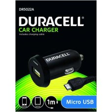 DURACELL CAR CHARGER 1M  MICRO USB 2.4A DR5022A SINGLE BLACK