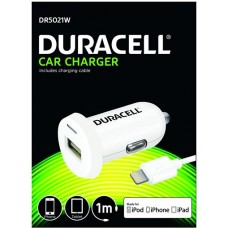 DURACELL CAR CHARGER 1M  2.4A DR5021W WHITE IPOD IPHONE IPAD