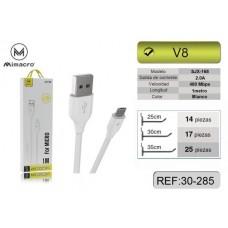 CABO USB MICRO USB 1M  SJX-168 BRANCO MIMACRO
