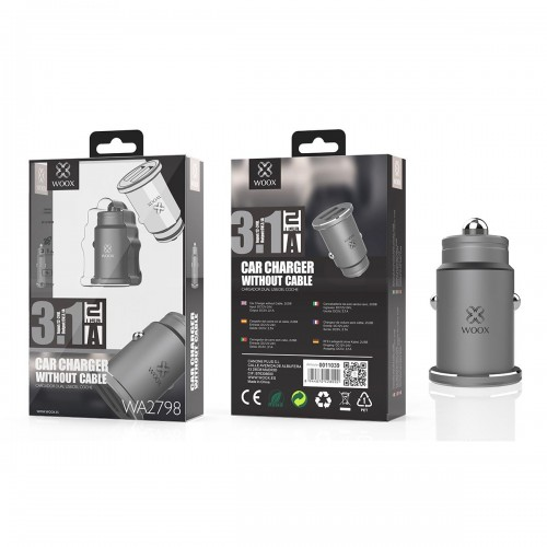CAR CHARGER WITHOUT CABLE 3.1A 2USB WA2798 PRETO WOOX