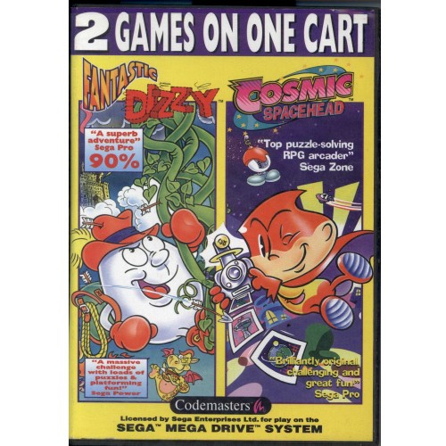 MD Fantastic Dizzy,Cosmic Spacehead 2 games on one cart - Usado