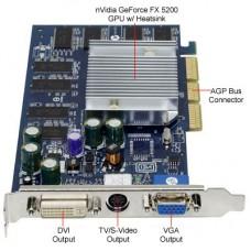 Nvidia GeForce FX5200 256MB DDR TV/DVI - Usado