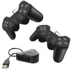 Pack 2 Comandos dualshock2 compativeis + Adaptador USB 2 Comandos para  PC/PS3